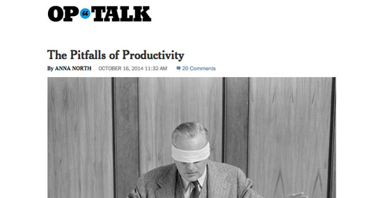 "NYT Opinion on ""The Pitfalls of Productivity"""